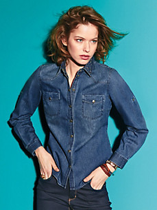 Looxent - Jeans-Bluse aus 100% Baumwolle