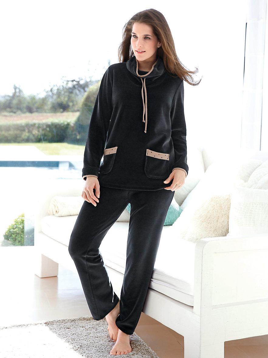 peter hahn nicki anzug schwarz camel. Black Bedroom Furniture Sets. Home Design Ideas