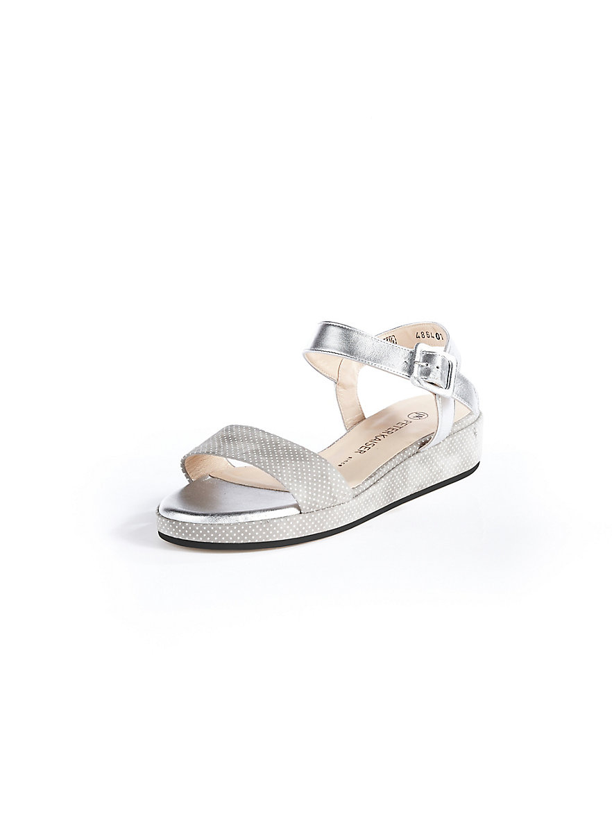 peter kaiser sandale mit keilabsatz grau silber ecru. Black Bedroom Furniture Sets. Home Design Ideas